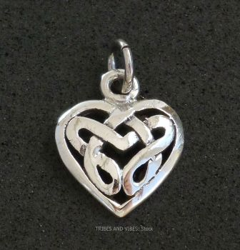 Celtic Knotwork Heart Charm Sterling Silver
