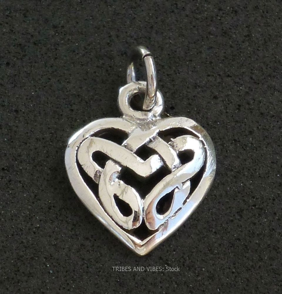 Celtic Knotwork Heart Charm Sterling Silver (stock)