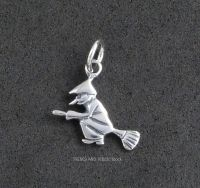 Flying Witch on a Broomstick Charm Sterling Silver