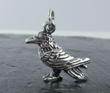 Raven Crow Charm Sterling Silver 3D
