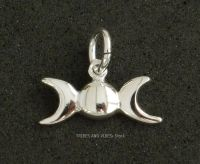 Triple Moon Goddess Charm Sterling Silver