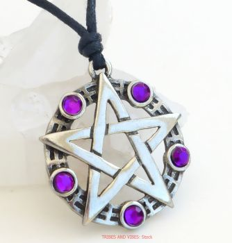 Pentagram Pentacle Pewter Pendant Necklace (purple beads)