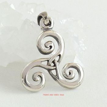 Triskele Pendant 25mm, Sterling Silver