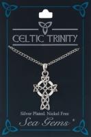 Celtic Cross & Triquetra Knotwork Pendant Necklace (Silver Plate)
