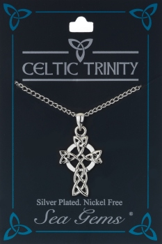 Celtic Cross & Triquetra Knotwork Pendant Necklace (Silver Plate)