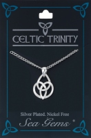 Triquetra Oval Knot Necklace (Silver Plate)