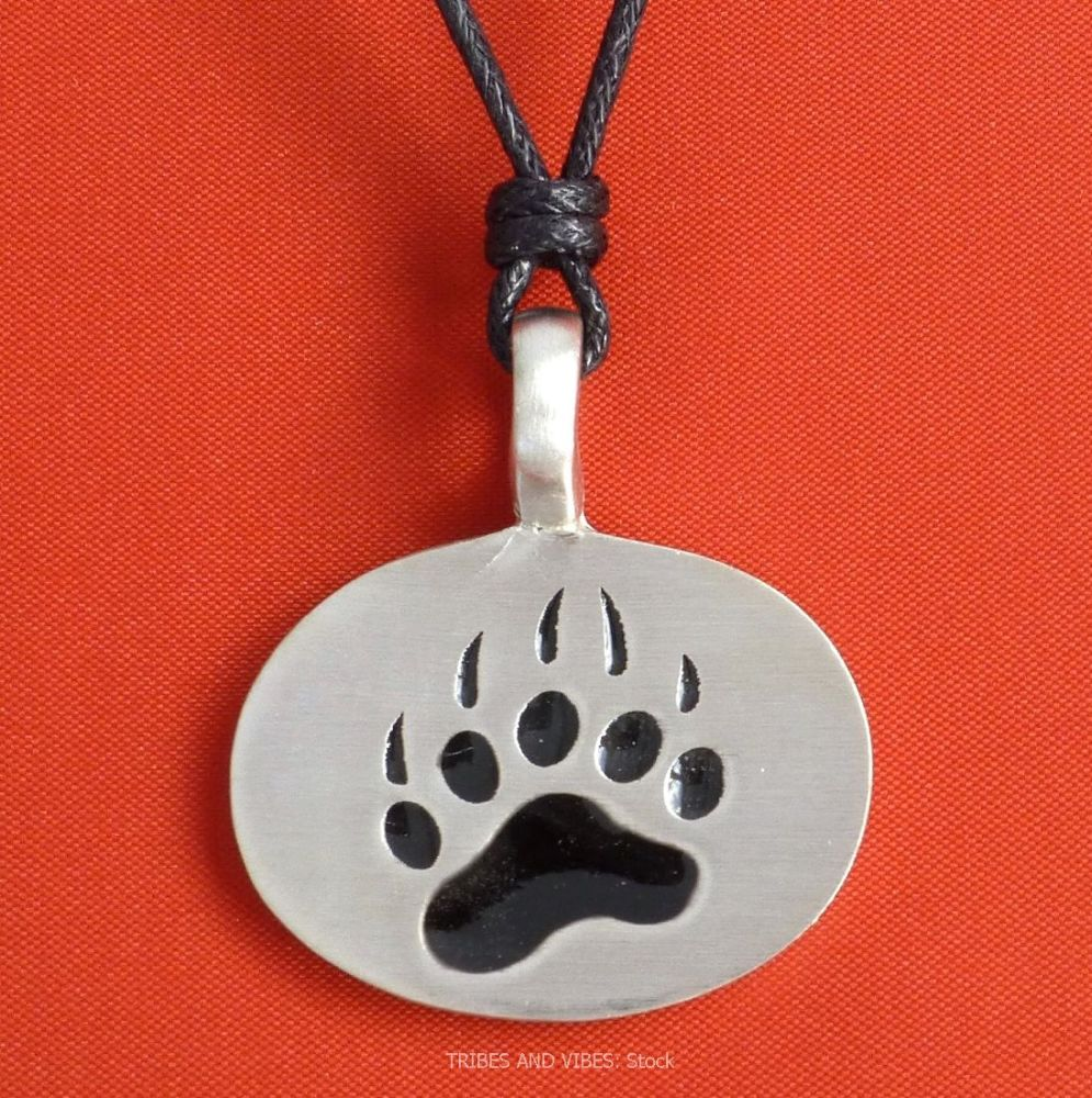 Bear Paw Claw Print Pewter Pendant Necklace, 36mm (stock)