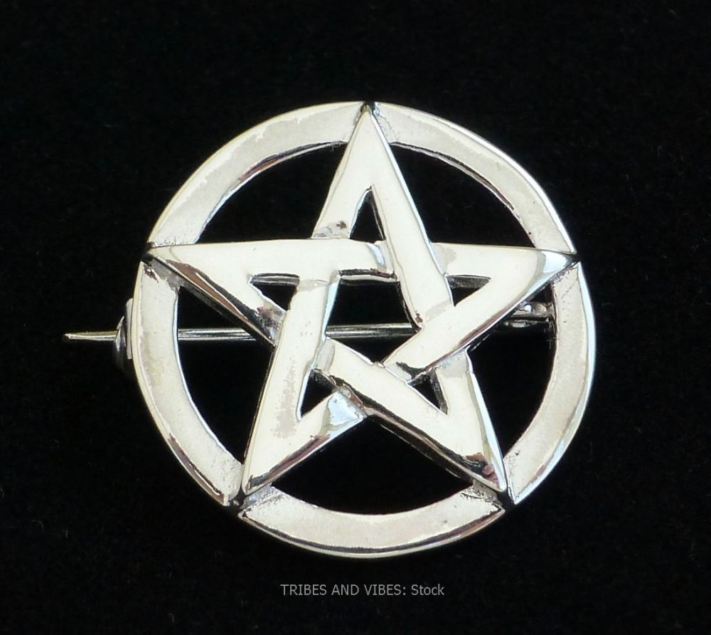 Pentacle Pentagram Brooch, 925 Sterling Silver (stock)