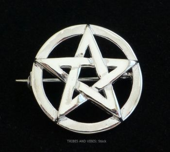 Pentacle Pentagram Brooch, 925 Sterling Silver