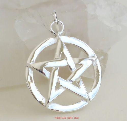 Pentacle pentagram pendant sterling silver pagan wiccan druid jewellery pentacle pentagram pendant 925 sterling silver 20mm wide stock aloadofball Images