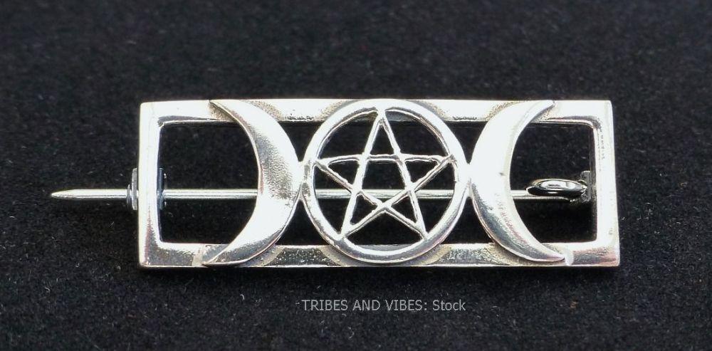 Triple Moon Goddess Pentacle Pentagram Brooch Sterling Silver (stock)