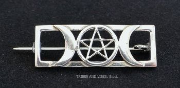 Triple Moon Goddess Pentacle Brooch, 925 Sterling Silver