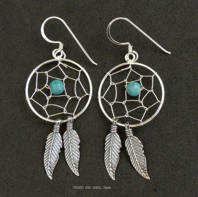 dream catcher earrings sterling silver