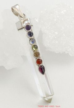 Quartz Point Chakra Crystals Pendant Sterling Silver