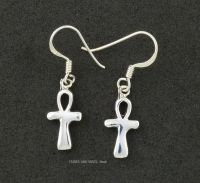 Egyptian Ankh Earrings, Sterling Silver