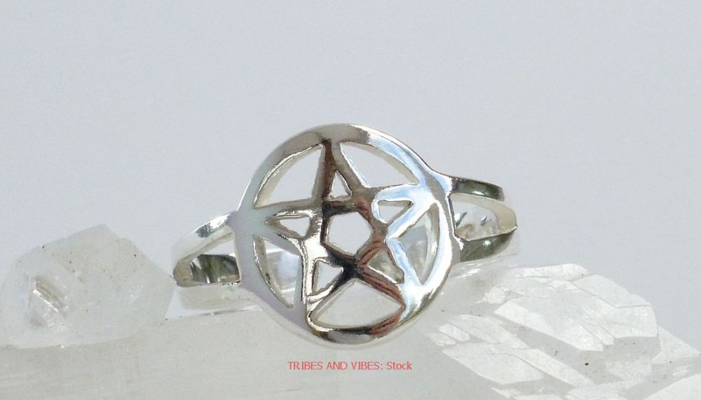 Pentacle Pentagram Toe Ring Midi Sterling Silver (stock)