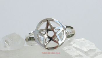 Pentagram Pentacle Toe Ring or Midi, 925 Sterling Silver