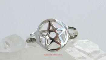 Pentacle Pentagram Toe Ring or Midi, Sterling Silver