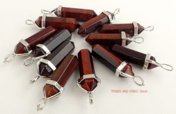 Red Tigers Eye Crystal Point Pendant + CHOICE OF NECKLACE