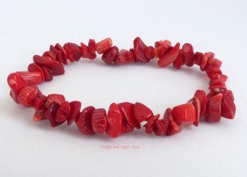 Red Coral Chips Bracelet