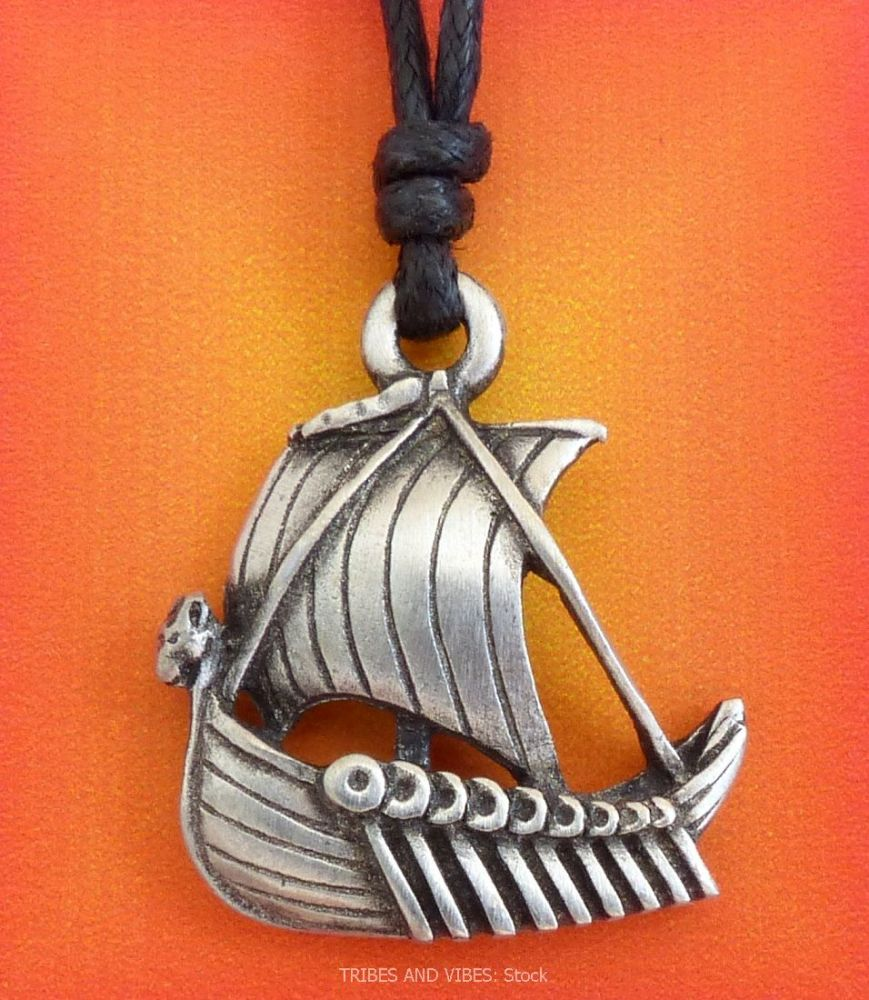 Viking Long Ship Boat Pendant Necklace (stock)