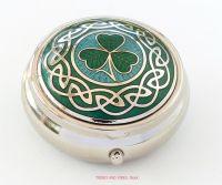 Irish Shamrock Pill Box by Sea Gems (Aqua/Green)