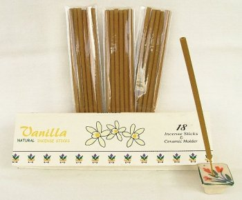 VANILLA Incense 18 Sticks + Ceramic Holder Gift Box