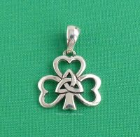 Celtic Shamrock Triquetra Pendant Sterling Silver