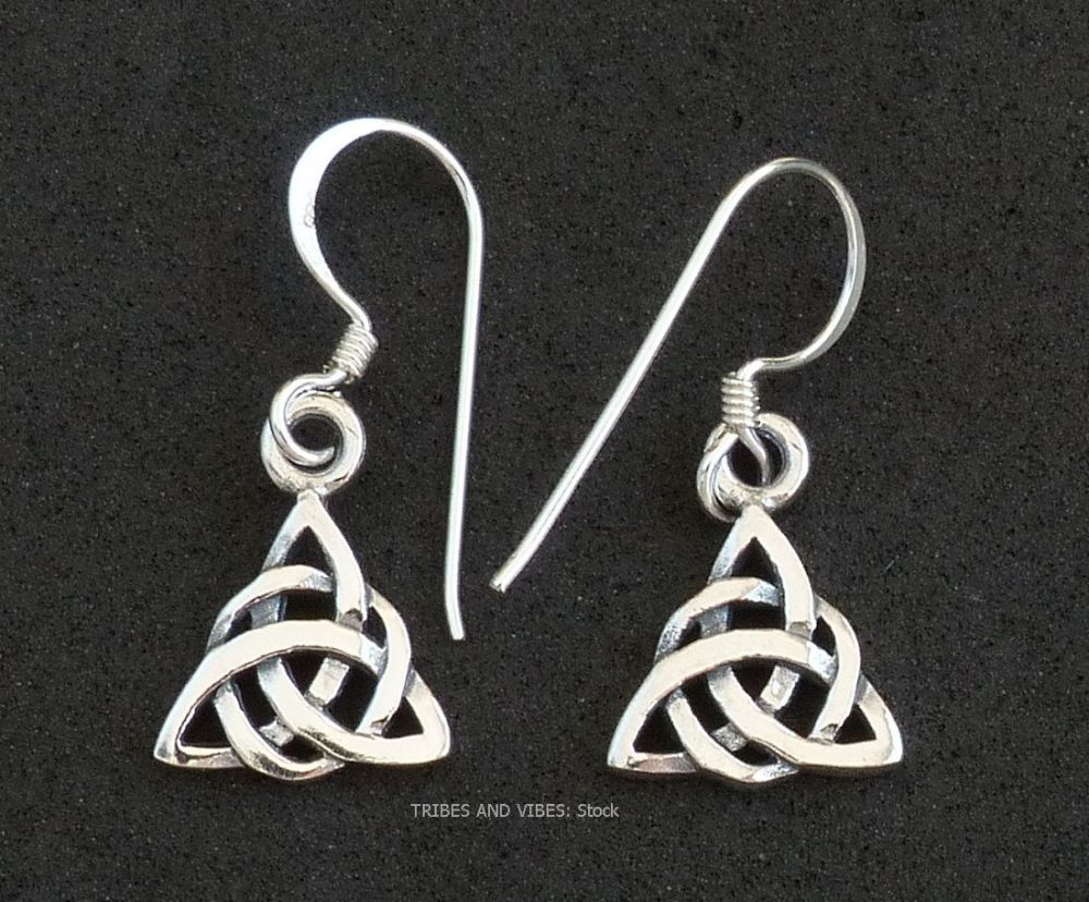 Double Triquetra Celtic Knot Earrings Sterling Silver (stock)