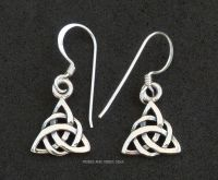 Triquetra (double) Celtic Knot Earrings Triple Moon Goddess, Sterling Silver