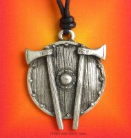 Viking Shield & Axes Pendant Necklace