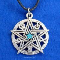 Detailed Pentacle Pentagram Blue Pendant Necklace