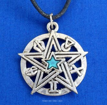Detailed Pentacle Pentagram Blue Pendant Necklace