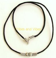 Black waxed cotton Necklace with metal beads 45cm (17.5