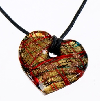 Glass Heart Pendant Necklace: Red Green Blue Gold