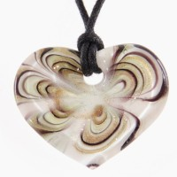 Glass Heart Swirl Pendant Necklace: White Gold Burgundy