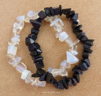 Opalite & Blue Goldstone Chip Bracelets