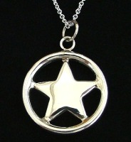Star in Circle Pendant Silver Plated Necklace