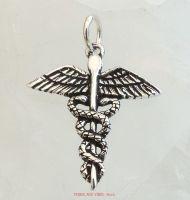 Caduceus Pendant, Sterling Silver