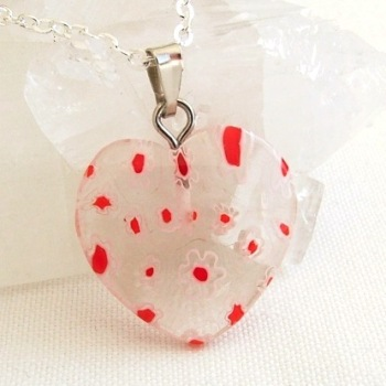 Clear & Red Heart Millefiori Glass Pendant & Necklace
