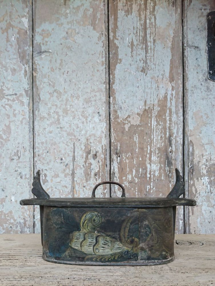 Painted bentwood storage box