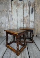 Pair yew wood stools
