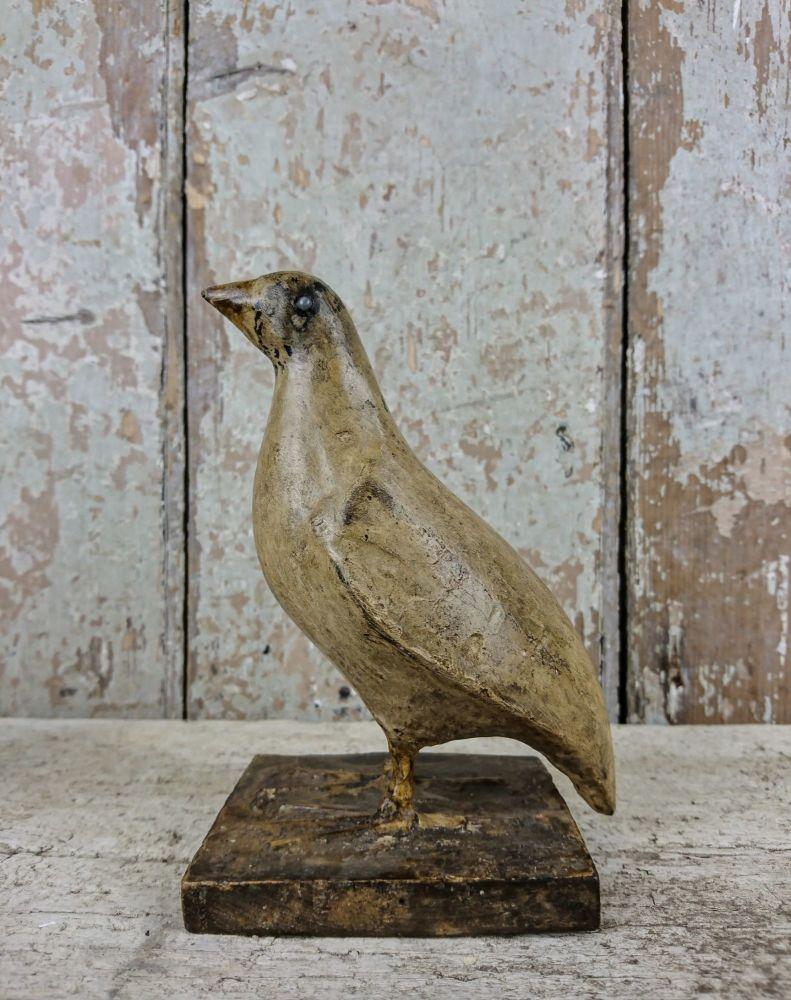 Primitive Folk Art sculpture of a quail
