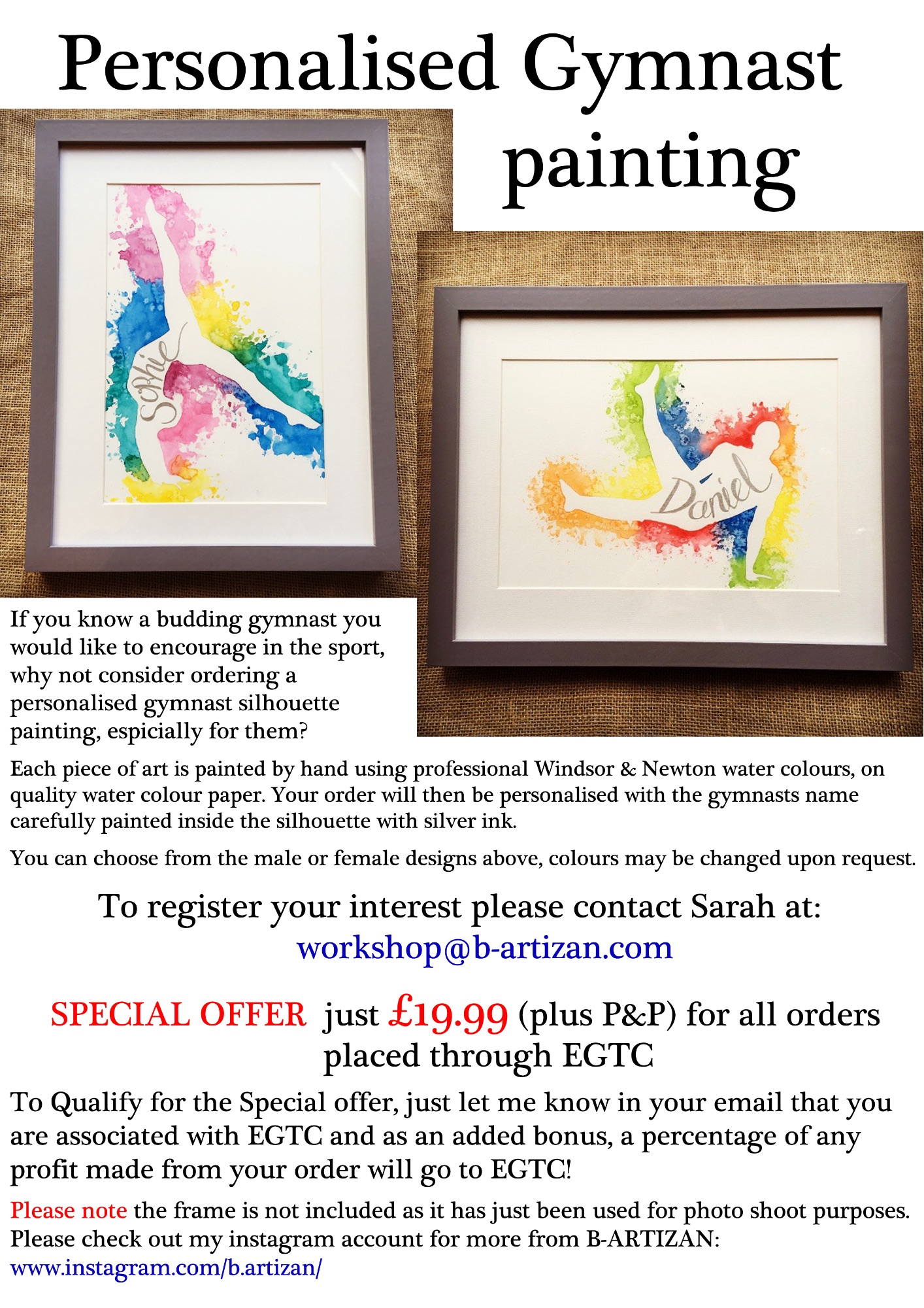 Personalised Gymnast painting poster
