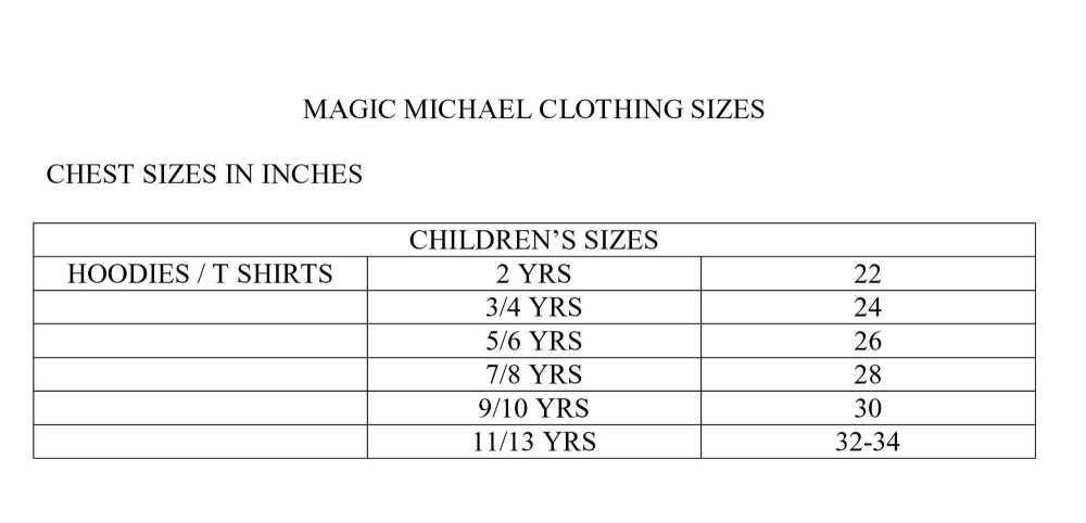 MAGIC MICHAEL CLOTHING SIZES KIDS copy
