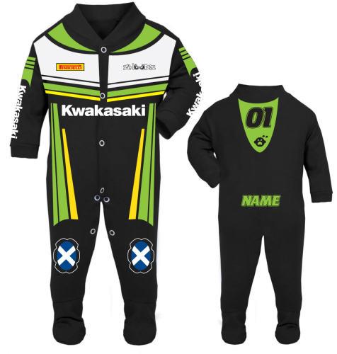 Motorcycle Baby grow babygrow Kwakasaki black Baby Race Suit new 2017