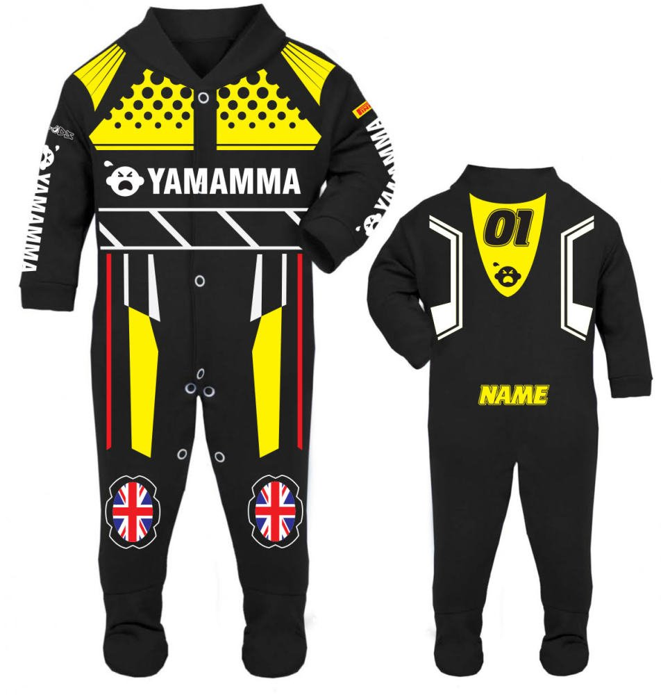 Motorcycle Baby grow babygrow Yamamma black Baby Race Suit new 2017