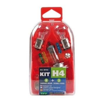 Motorcycle Scooter compact Spare bulb fuses kit 11 pcs 12V H4 halogen
