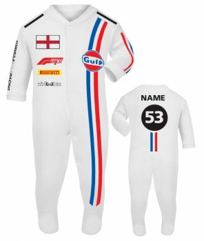 Car racing baby grow babygrow retro white