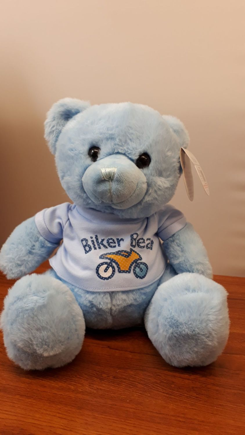Blue super soft biker teddy bear with a fitted t shirt